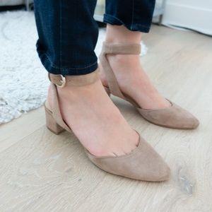 Nine West strap nude suede heels